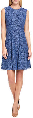 Tommy Hilfiger Ribbon Floral Lace Fit-and-Flare Dress