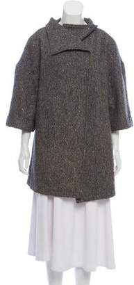 Halston Wool Short Tweed Coat