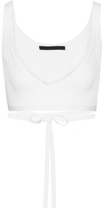 Alexander Wang - Cropped Ribbed Cotton-blend Wrap Top - White $325 thestylecure.com