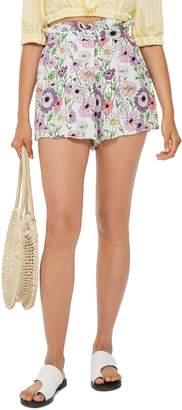 Topshop Field Flower Paperbag Shorts