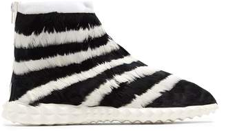 Valentino Free Striped feather-embellished high-top trainers