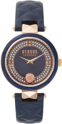Versace Covent Garden Crystal Accent Leather Strap Watch, 36mm