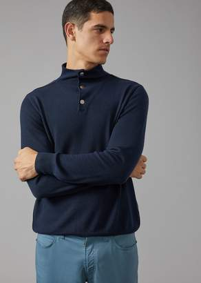 Giorgio Armani Cashmere Jumper With Press Stud Neck