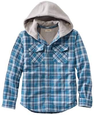 L.L. Bean L.L.Bean Boys' Fleece-Lined Flannel Shirt, Hooded Plaid