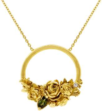 "Lee Renee Rose Halo Diamond & Tourmaline Necklace "" Gold"