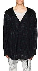Faith Connexion Men's Oversized Plaid Wool-Blend Gauze Hooded Shirt-Navy