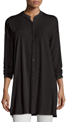 Eileen Fisher Mandarin-Collar Button-Front Jersey Tunic $178 thestylecure.com