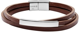 Fossil Plaque Brown Leather Wrist Wrap jewelry SILVER