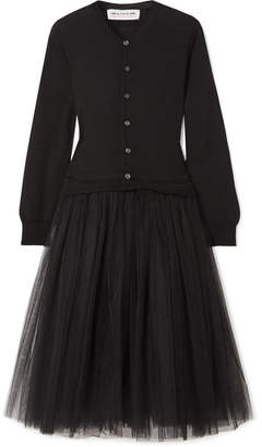 Comme des Garcons Wool And Tulle Midi Dress - Black