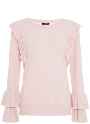 Quiz Pink Light Knit Ruffle Jumper