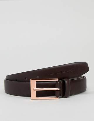 French Connection Brown Belt With Rose Gold Buckle