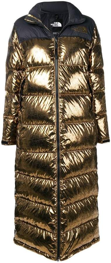 long metallic puffer coat