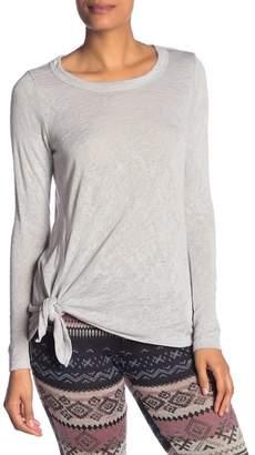 Bobeau Tie Front Long Sleeve Top