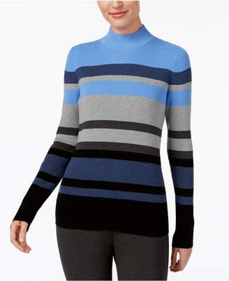 Karen Scott Cotton Striped Mock-Turtleneck Sweater, Created for Macy's