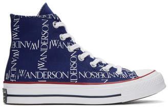 J.W.Anderson Blue Converse Edition Grid Logo Chuck 70 Hi Sneakers