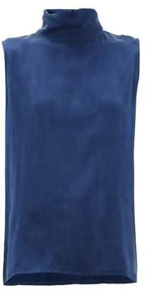 Worme - High Neck Silk Blouse - Womens - Dark Blue