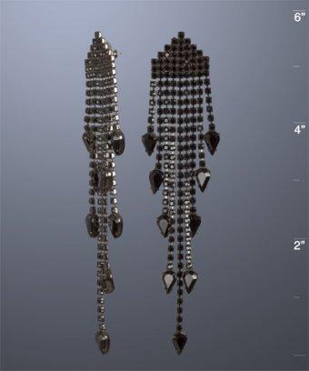 Elizabeth Cole black crystal pear drop chandelier earrings