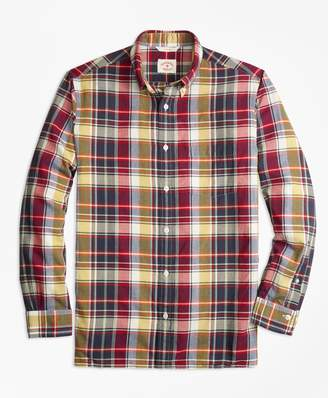 Brooks Brothers Plaid Crepe Madras Sport Shirt