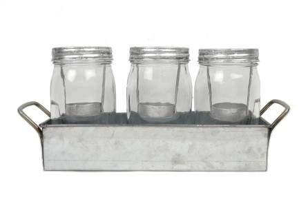 Drew DeRose Galvanized Votive Holder Jar Set of 3 Clear 7