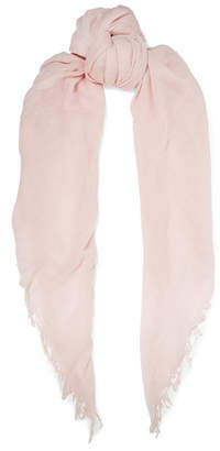 Chan Luu Fringed Cashmere And Silk-blend Scarf - Pastel pink