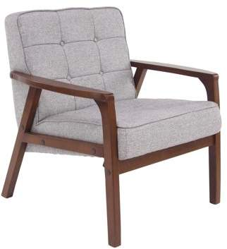 DecMode Decmode Traditional Wood and Fabric Gray Tufted Cushioned Armchair, Gray