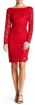 Marina Long Sleeve Lace Sequin Dress