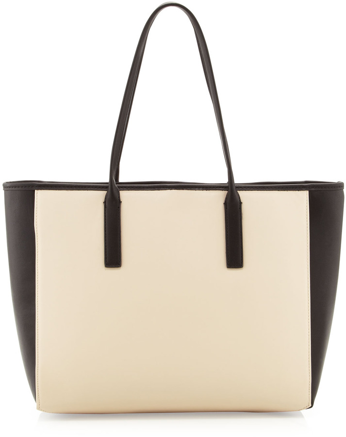 Neiman Marcus Square Carry-All Tote, Bone/Black