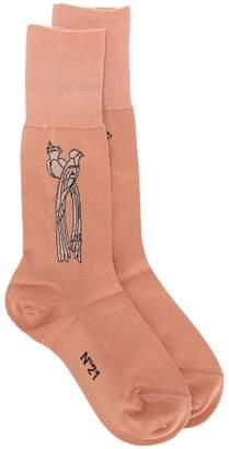 No.21 bird intarsia socks