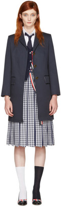 Thom Browne Navy Chesterfield Coat $2,490 thestylecure.com