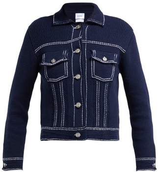 Barrie Western Style Cashmere Blend Knitted Jacket - Womens - Navy White