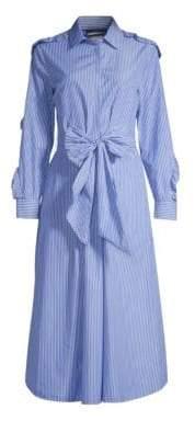 Max Mara Women's Canon Bow-Waist Striped Shirtdress - Light Blue - Size 10