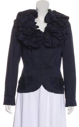 Anne Fontaine Ruffled Pinstriped Jacket