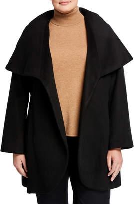 T Tahari Plus Size Marla Wool-Blend Wrap Coat