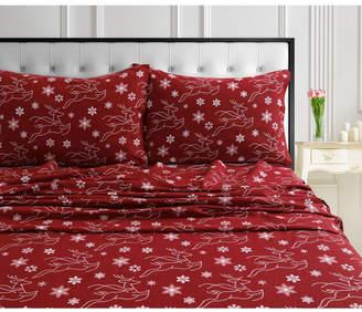 Marwah Corporation/tribeca Living Dots & Deers 170-gsm Cotton Flannel Printed Extra Deep Pocket Queen Sheet Set Bedding