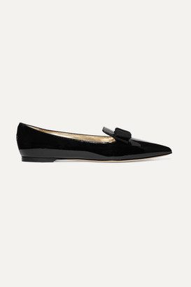 Jimmy Choo Gala Grosgrain-trimmed Patent-leather Point-toe Flats - Black