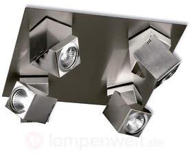 Vierflammiger LED-Deckenspot Praktyk, Nickel matt
