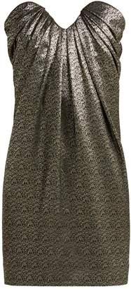 Saint Laurent Strapless metallic jacquard mini dress