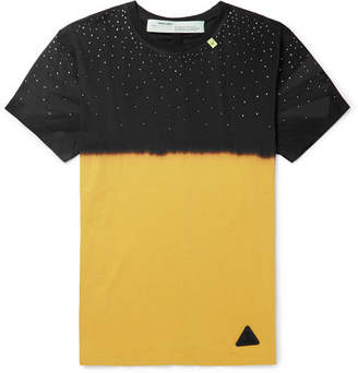 Off-White Off White Slim-Fit Embellished Tie-Dyed Cotton-Jersey T-Shirt - Men - Yellow