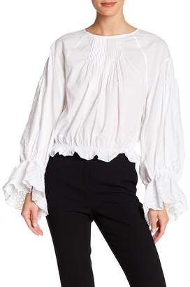 Love Place Lace Trim Bell Sleeve Top
