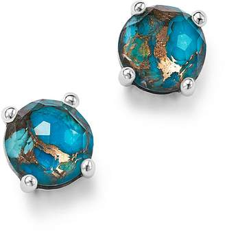 Ippolita Sterling Silver Rock Candy® Mini Stud Earrings in Clear Quartz and Bronze Turquoise