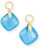 Jude Frances 18k Lisse Small Cushion Earring Charms, Blue Triplet