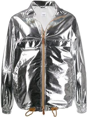 metallic sheen zipped jacket