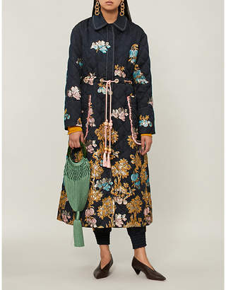 Peter Pilotto Metallic fig tree-embroidered quilted jacquard coat