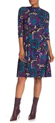 Trina Turk Tia Rosita Paisley Long Sleeve Fit & Flare Dress
