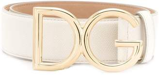 Dolce & Gabbana gold logo plaque belt
