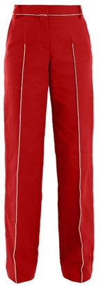 Valentino High Rise Straight Leg Cotton Blend Trousers - Womens - Red Multi