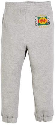 Gucci Jersey Jogger Pants w/ Vintage Logo, Size 4-12