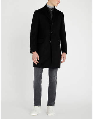 Corneliani Detachable collar wool and leather car coat