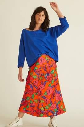 Oliver Bonas Womens Orange Floral Bright Bias Skirt - Orange