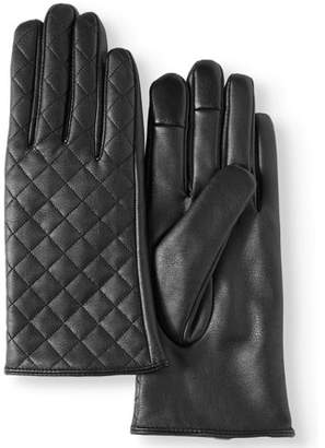 Time and Tru Women's PU Leather Quilted Glove With Touch Finger